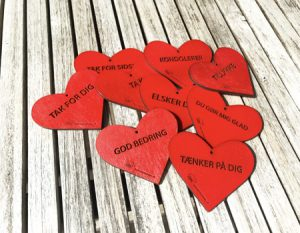 Hjertevedhæng med tekst